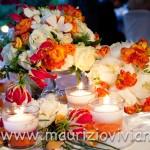 Tischdekoration orange und weiß
